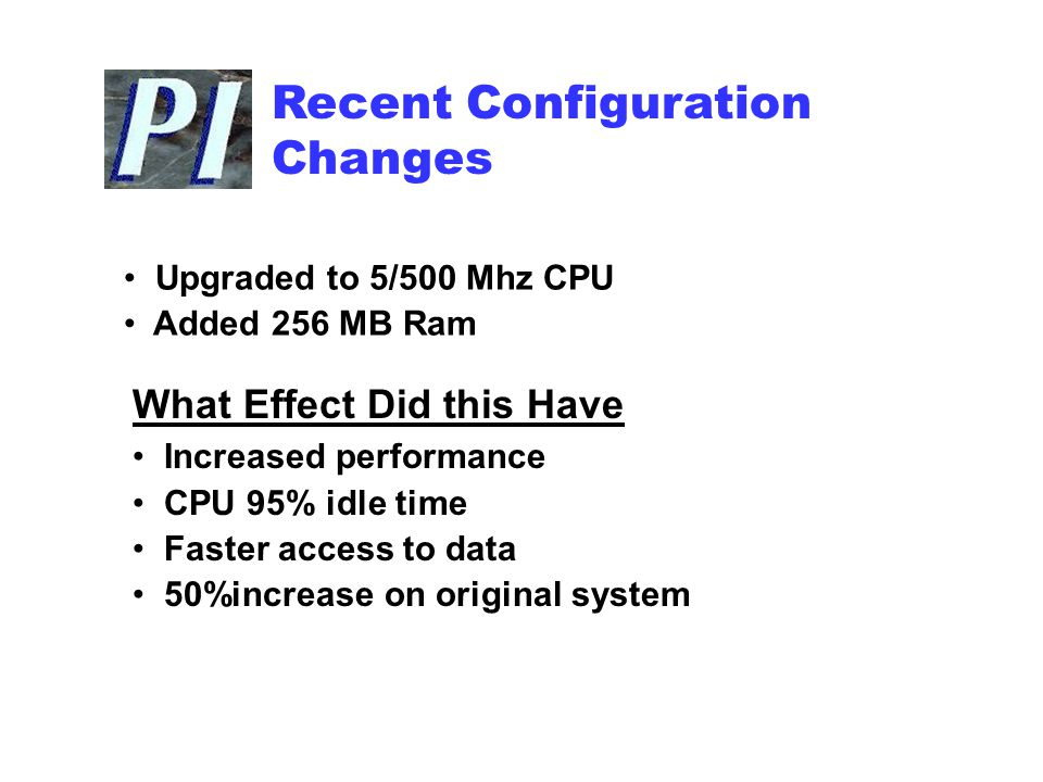 Recent Configuration Changes Upgraded to 5/500 Mhz CPU Added 256 MB Ram What Effect Did this Have Increased performance CPU 95% idle time Faster access to data 50%increase on original system