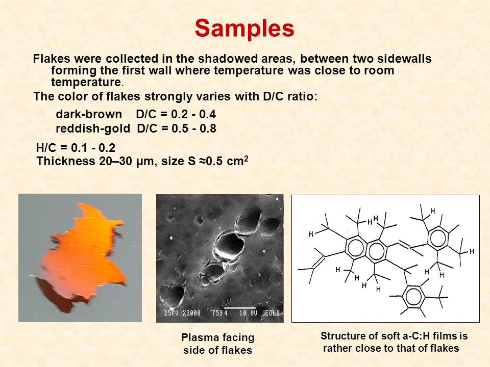 Samples H/C = 0.1 - 0.2 Thickness 20–30 µm, size S ≈0.5 cm 2 Flakes were collected in the shadowed areas, between two sidewalls forming the first wall where temperature was close to room temperature.