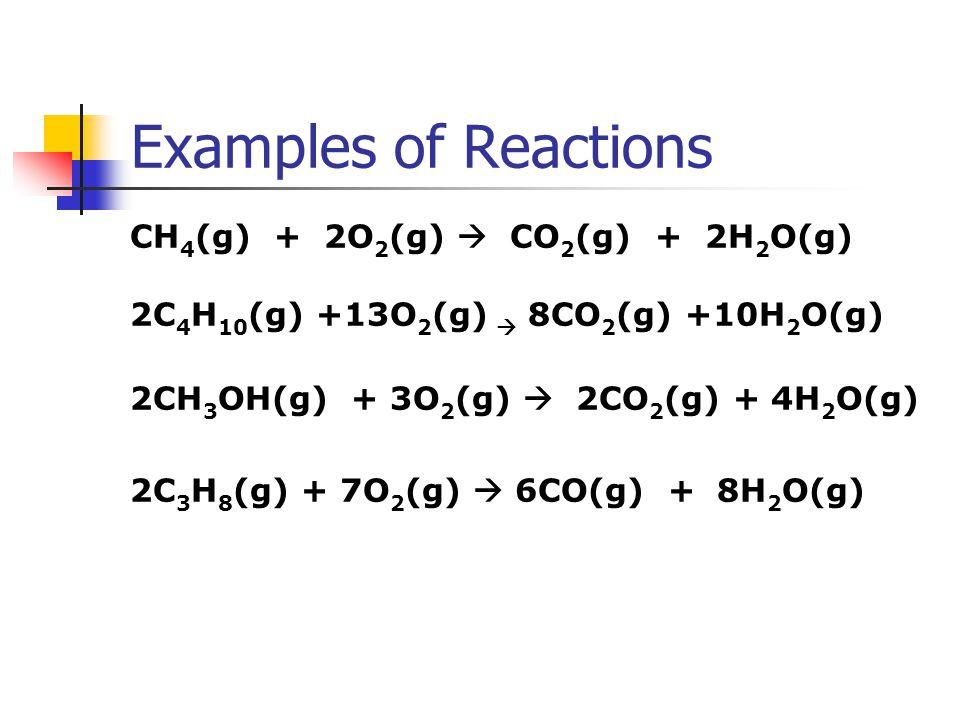 Examples of Reactions CH 4 (g) + 2O 2 (g)  CO 2 (g) + 2H 2 O(g) 2C 4 H 10 (g) +13O 2 (g)  8CO 2 (g) +10H 2 O(g) 2CH 3 OH(g) + 3O 2 (g)  2CO 2 (g) +