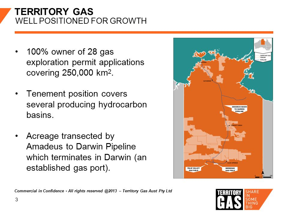 3 TERRITORY GAS WELL POSITIONED FOR GROWTH 100% owner of 28 gas exploration permit applications covering 250,000 km 2.