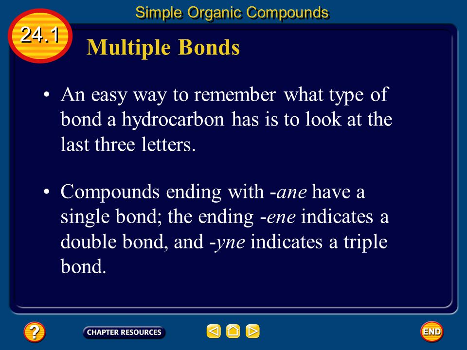 Multiple Bonds 24.1 Simple Organic Compounds Hydrocarbons, such as ethene and ethyne, that contain at least one double or triple bond are called unsat
