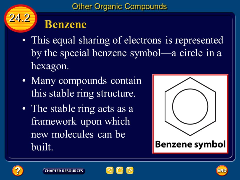 Benzene 24.2 Other Organic Compounds The electrons shown as alternating double and single bonds that form the ring are shared by all six carbon atoms