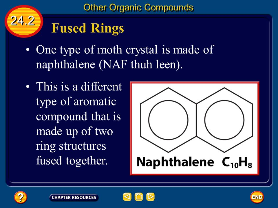 24.2 Other Organic Compounds This equal sharing of electrons is represented by the special benzene symbol—a circle in a hexagon. The stable ring acts