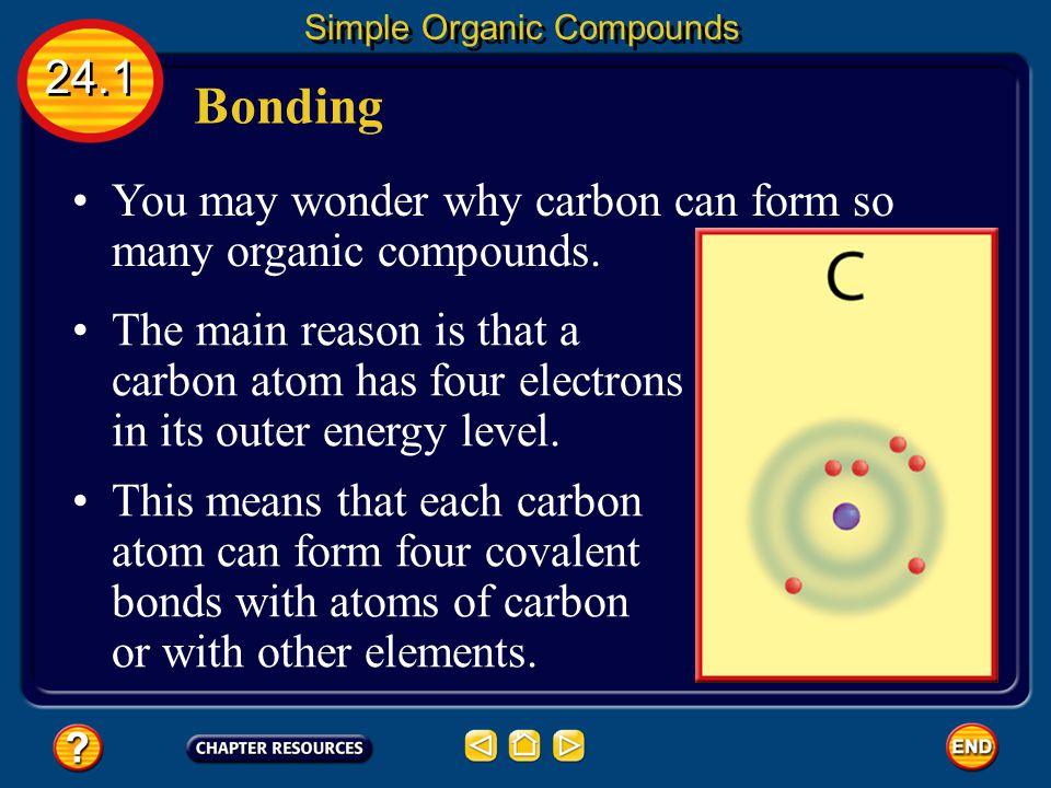 You may wonder why carbon can form so many organic compounds.