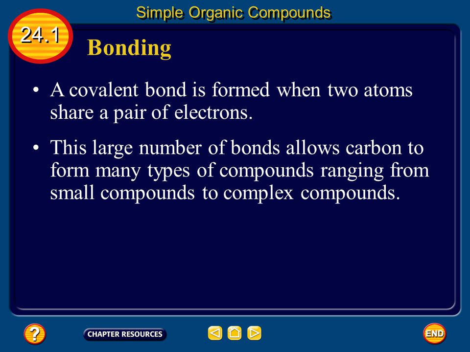 Multiple Bonds 24.1 Simple Organic Compounds An easy way to remember what type of bond a hydrocarbon has is to look at the last three letters.