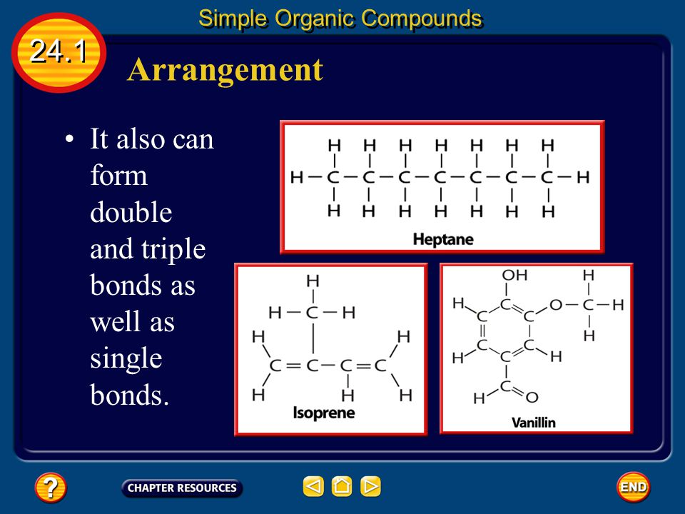 Arrangement 24.1 Simple Organic Compounds It also can form double and triple bonds as well as single bonds.