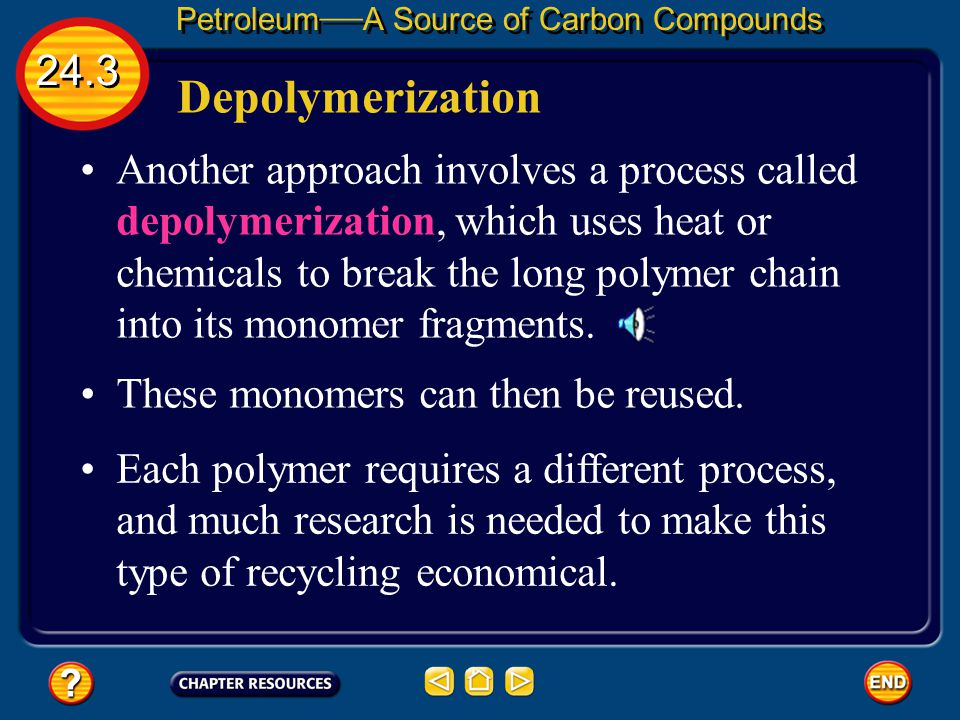 24.3 Petroleum — A Source of Carbon Compounds One way to combat this is by recycling, which recovers clean plastics for reuse in new products. Depolym