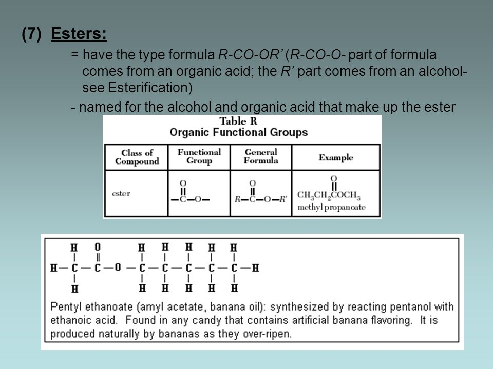 (7) Esters: = have the type formula R-CO-OR' (R-CO-O- part of formula comes from an organic acid; the R' part comes from an alcohol- see Esterification) - named for the alcohol and organic acid that make up the ester