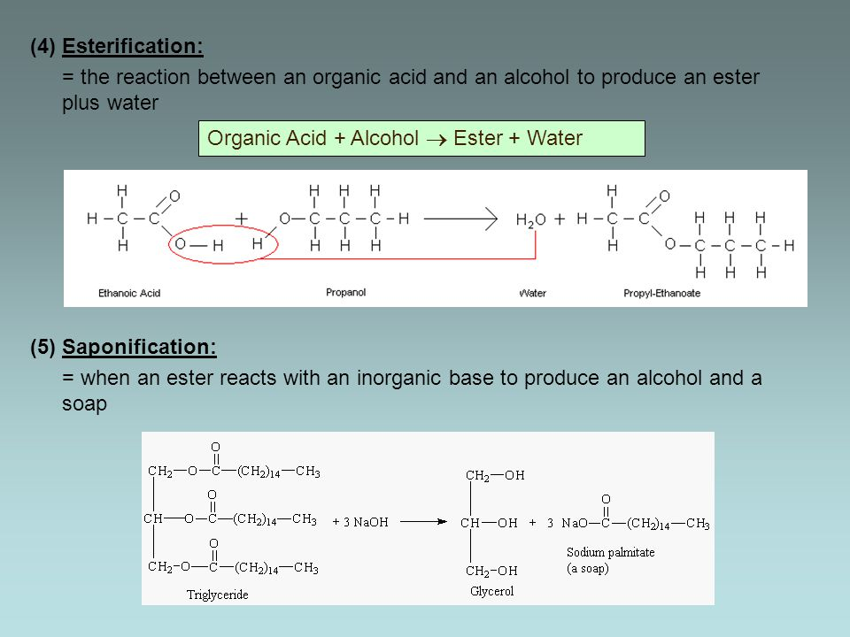 (4) Esterification: = the reaction between an organic acid and an alcohol to produce an ester plus water (5) Saponification: = when an ester reacts with an inorganic base to produce an alcohol and a soap Organic Acid + Alcohol  Ester + Water