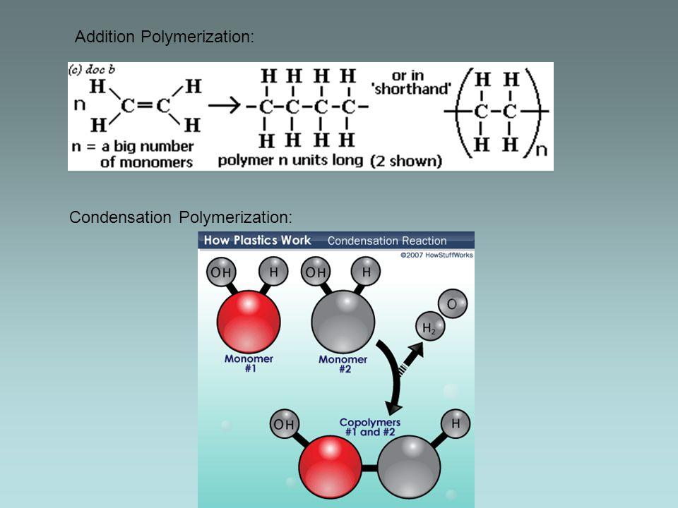 Addition Polymerization: Condensation Polymerization: