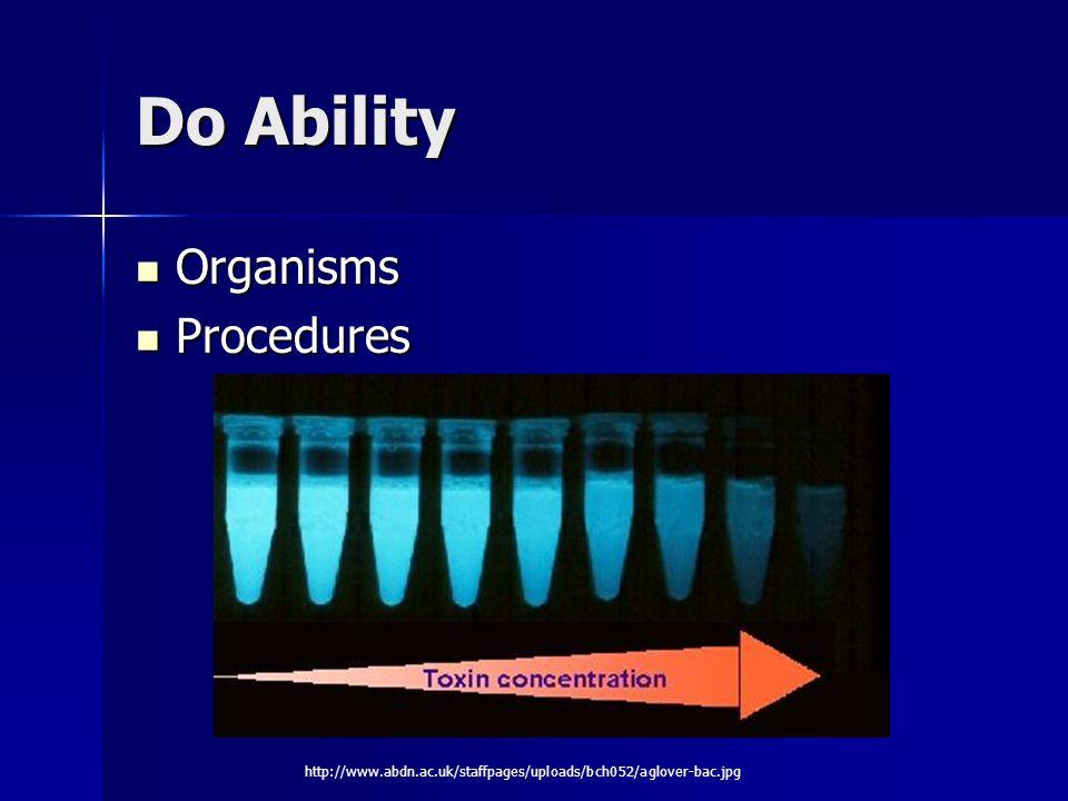 Do Ability Organisms Organisms Procedures Procedures http://www.abdn.ac.uk/staffpages/uploads/bch052/aglover-bac.jpg