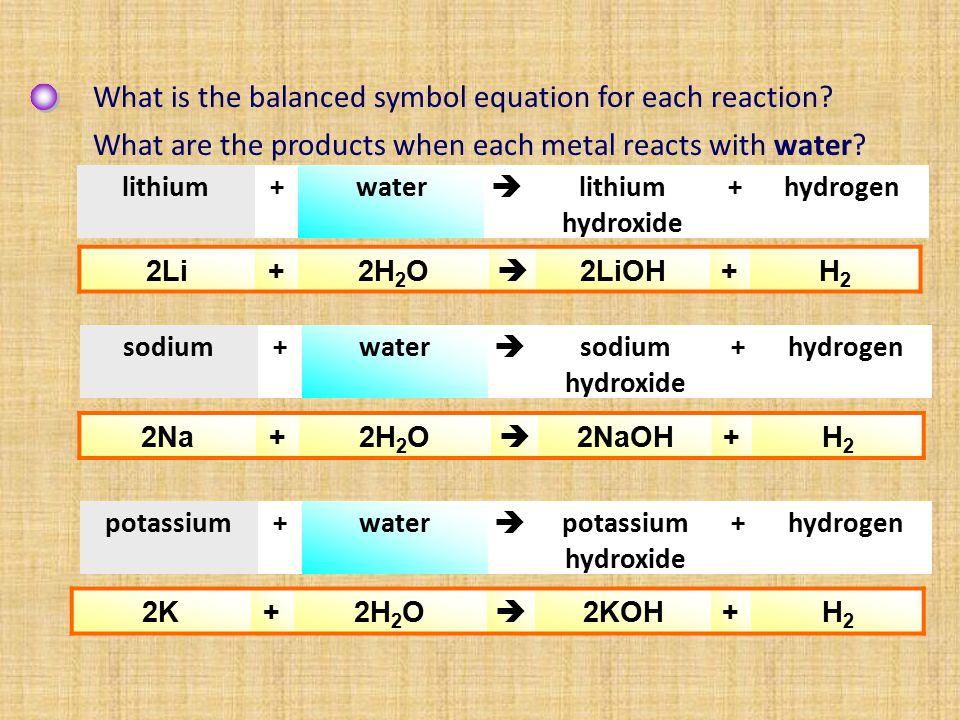 +lithium hydroxide  water+lithium 2Li+2H 2 O  2LiOH+H2H2 hydrogen+sodium hydroxide  water+sodium 2Na+2H 2 O  2NaOH+H2H2 hydrogen+potassium hydroxi
