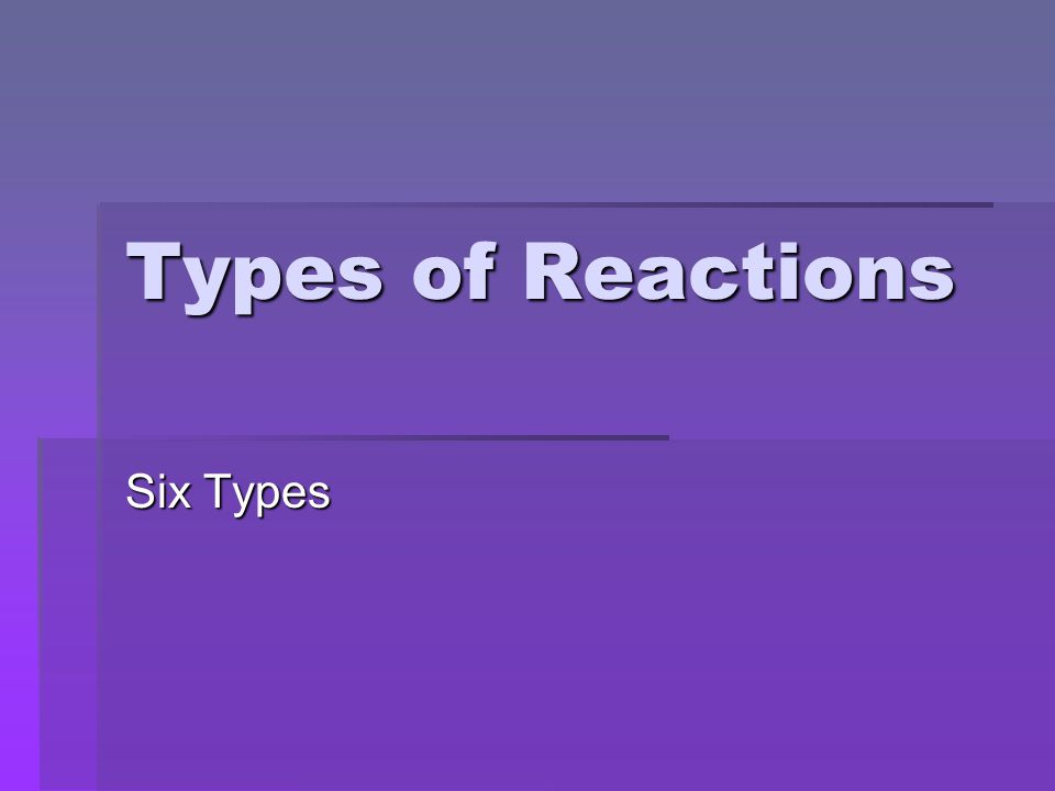 Types of Reactions Six Types