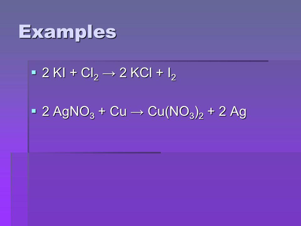 Examples  2 KI + Cl 2 → 2 KCl + I 2  2 AgNO 3 + Cu → Cu(NO 3 ) 2 + 2 Ag