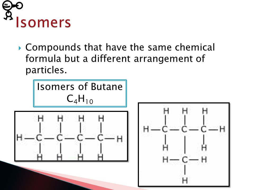  Compounds that have the same chemical formula but a different arrangement of particles.