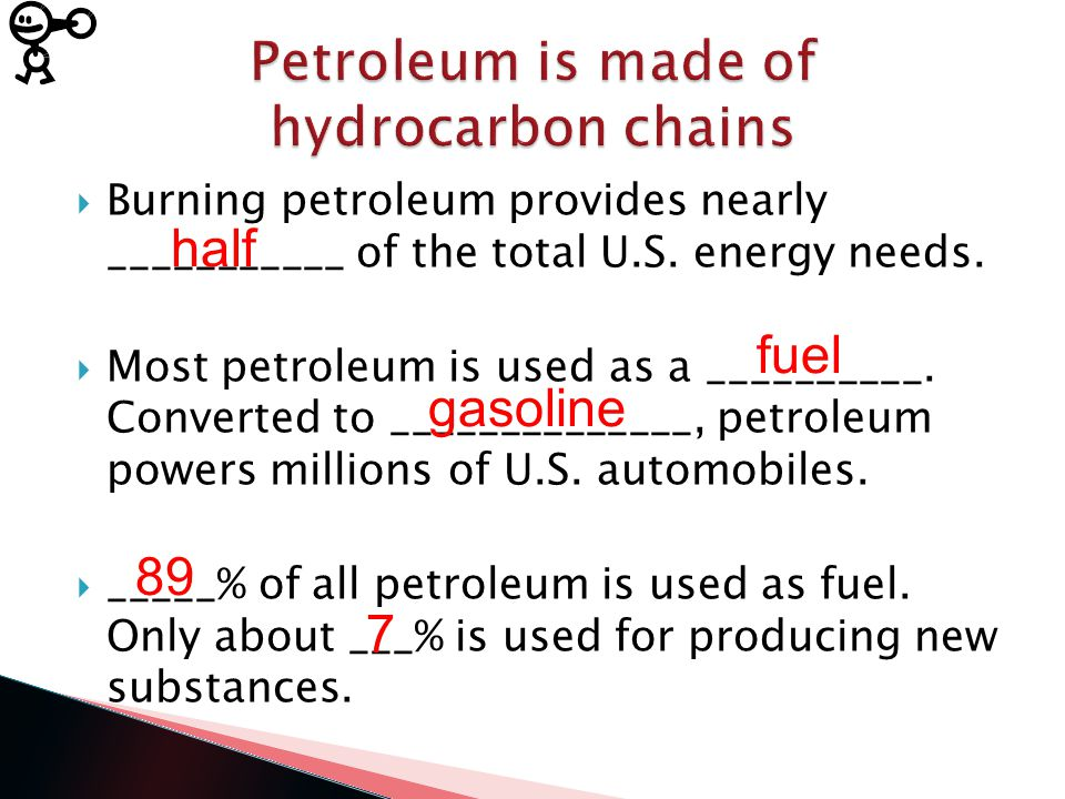  Burning petroleum provides nearly ___________ of the total U.S.