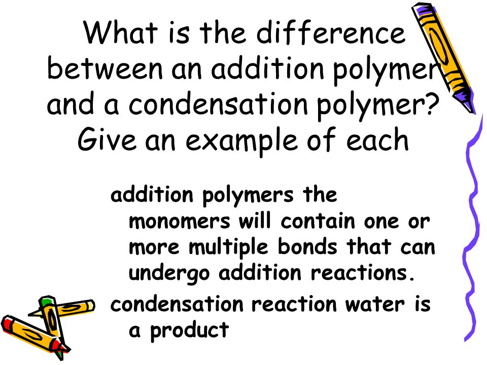 What is the difference between an addition polymer and a condensation polymer.
