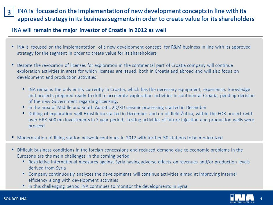 4 SOURCE: INA INA is focused on the implementation of new development concepts in line with its approved strategy in its business segments in order to create value for its shareholders 3 INA will remain the major investor of Croatia in 2012 as well ▪ INA is focused on the implementation of a new development concept for R&M business in line with its approved strategy for the segment in order to create value for its shareholders ▪ Despite the revocation of licenses for exploration in the continental part of Croatia company will continue exploration activities in areas for which licenses are issued, both in Croatia and abroad and will also focus on development and production activities ▪ INA remains the only entity currently in Croatia, which has the necessary equipment, experience, knowledge and projects prepared ready to drill to accelerate exploration activities in continental Croatia, pending decision of the new Government regarding licensing.
