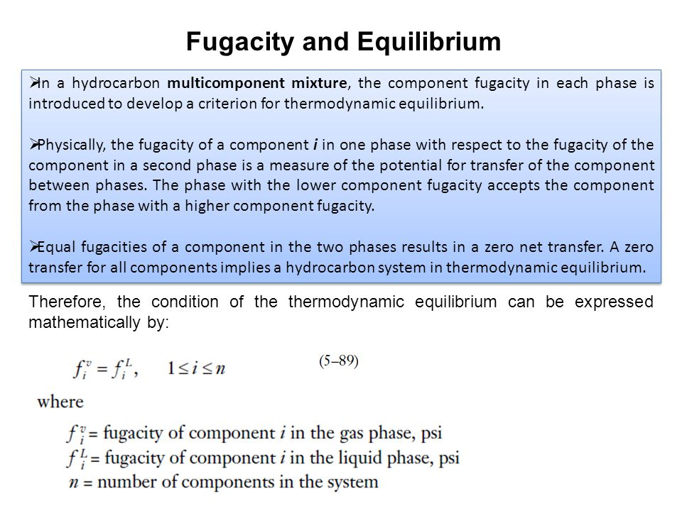  In a hydrocarbon multicomponent mixture, the component fugacity in each phase is introduced to develop a criterion for thermodynamic equilibrium.