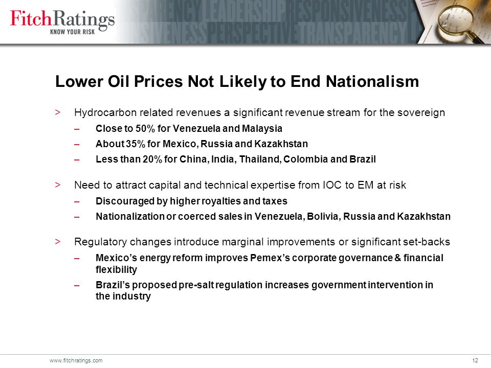 www.fitchratings.com12 Lower Oil Prices Not Likely to End Nationalism >Hydrocarbon related revenues a significant revenue stream for the sovereign –Close to 50% for Venezuela and Malaysia –About 35% for Mexico, Russia and Kazakhstan –Less than 20% for China, India, Thailand, Colombia and Brazil >Need to attract capital and technical expertise from IOC to EM at risk –Discouraged by higher royalties and taxes –Nationalization or coerced sales in Venezuela, Bolivia, Russia and Kazakhstan >Regulatory changes introduce marginal improvements or significant set-backs –Mexico's energy reform improves Pemex's corporate governance & financial flexibility –Brazil's proposed pre-salt regulation increases government intervention in the industry