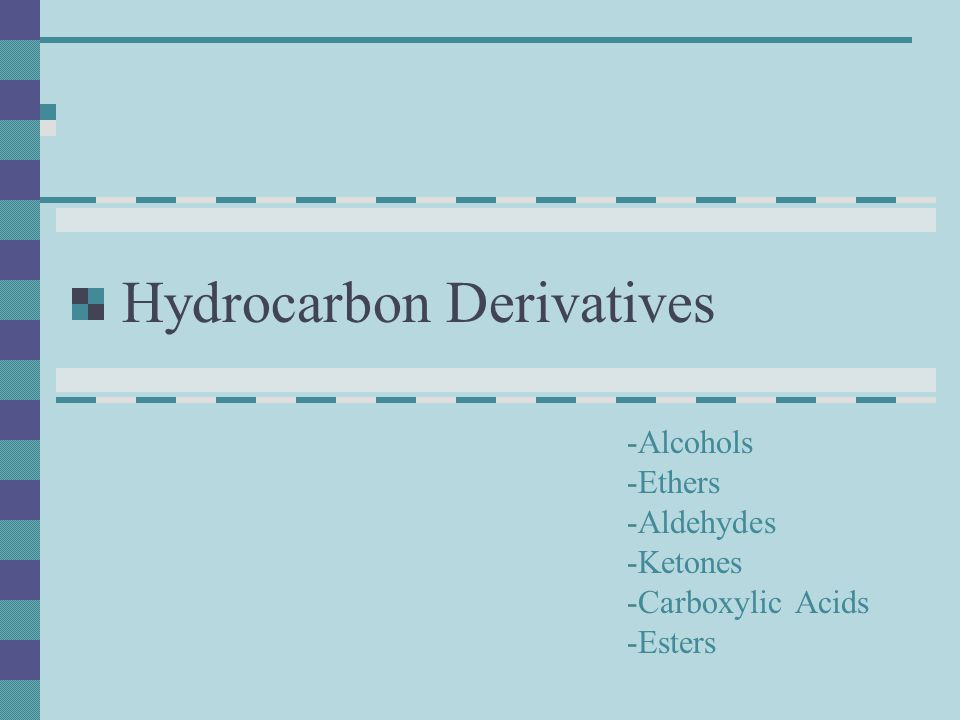 Hydrocarbon Derivatives These are organic compounds that are based on hydrocarbons with the addition of specific functional groups A functional group is a reactive group of atoms (eg.