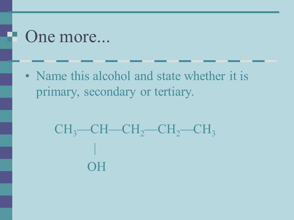 CH 3 —CH 2 —C—O—CH 3 We would name thismethyl propanoate O || Parent acid Alkyl Group