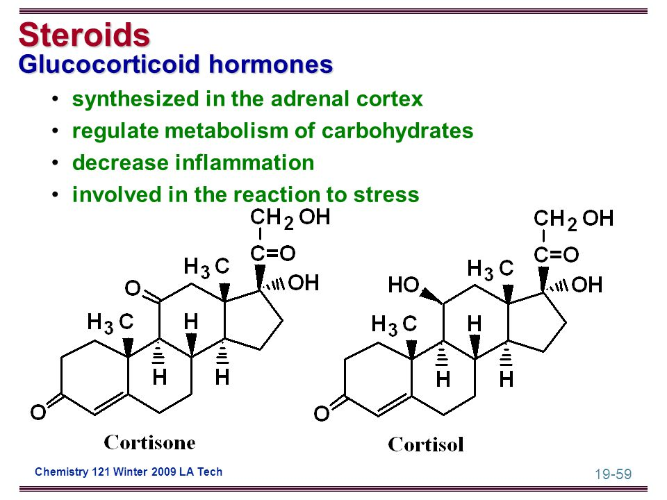 19-59 Chemistry 121 Winter 2009 LA Tech Steroids Glucocorticoid hormones synthesized in the adrenal cortex regulate metabolism of carbohydrates decrea
