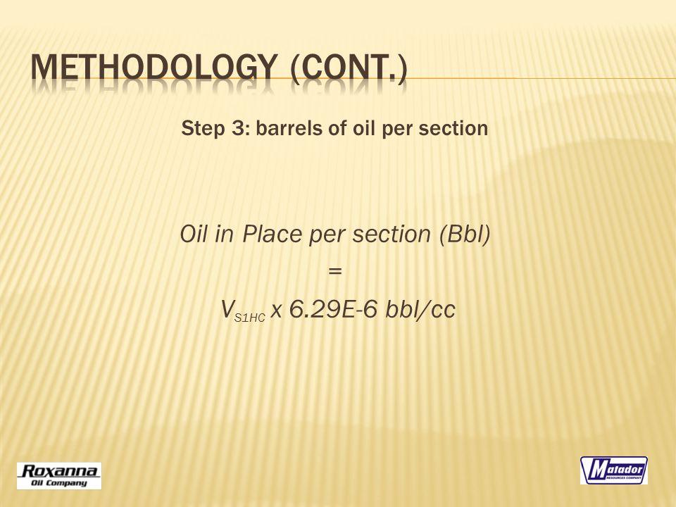 Oil in Place per section (Bbl) = V S1HC x 6.29E-6 bbl/cc Step 3: barrels of oil per section