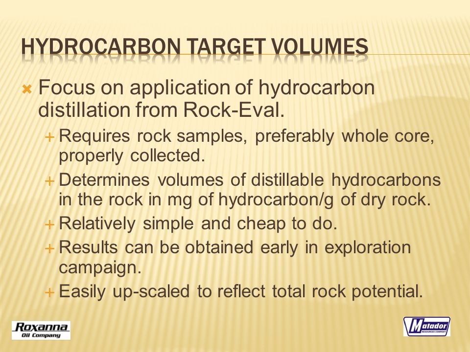  Focus on application of hydrocarbon distillation from Rock-Eval.