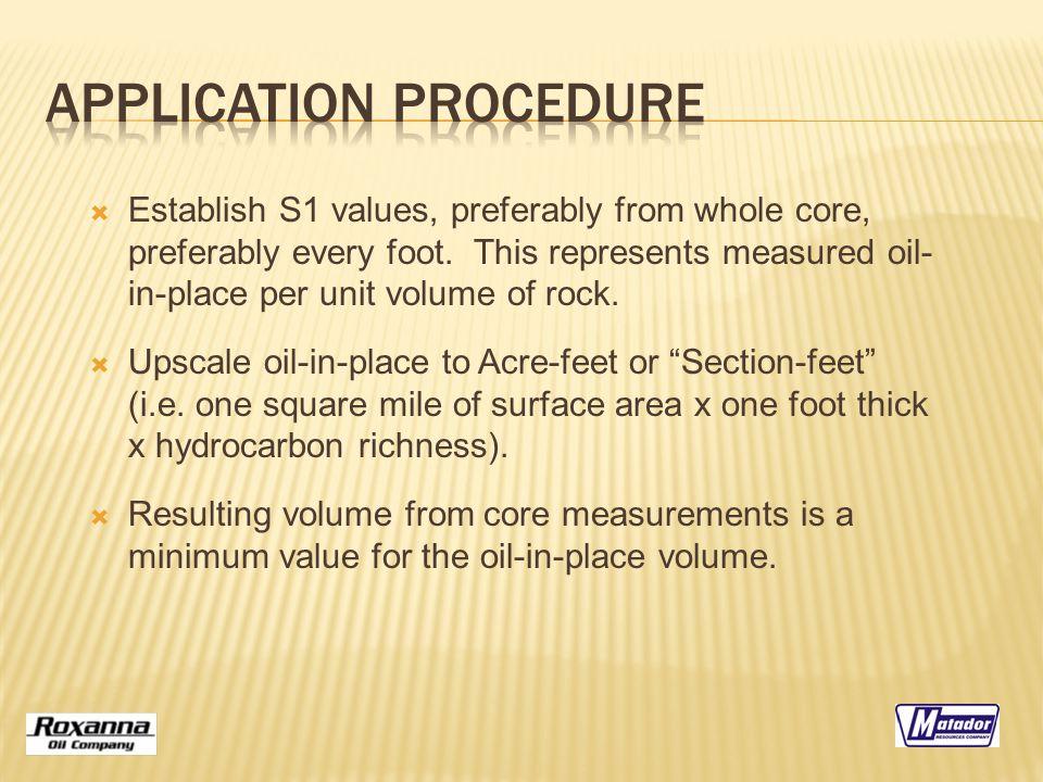  Establish S1 values, preferably from whole core, preferably every foot.