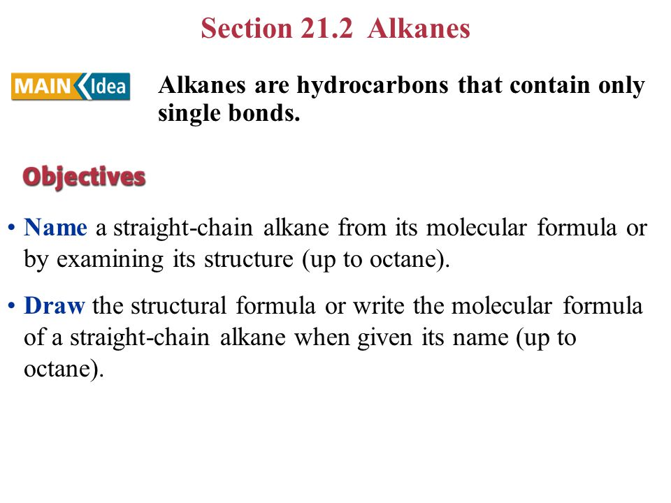 Section 21.2 Alkanes Name a straight-chain alkane from its molecular formula or by examining its structure (up to octane).
