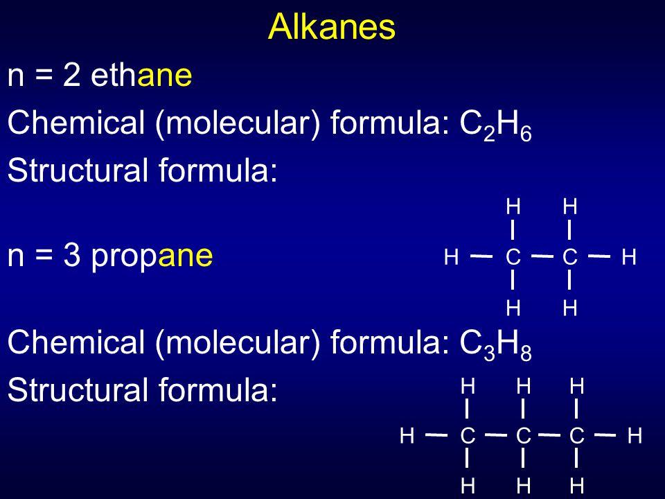 Alkanes n = 2 ethane Chemical (molecular) formula: C 2 H 6 Structural formula: n = 3 propane Chemical (molecular) formula: C 3 H 8 Structural formula: C H H H C H H H C H H HC H H H C H H