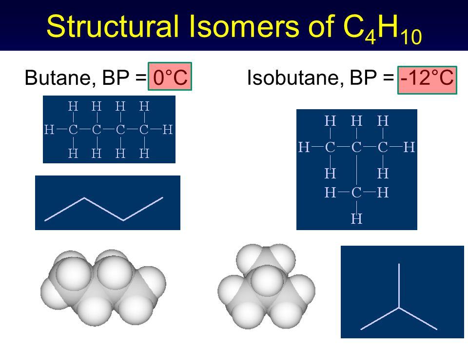 Structural Isomers of C 4 H 10 Butane, BP = 0°C Isobutane, BP = -12°C