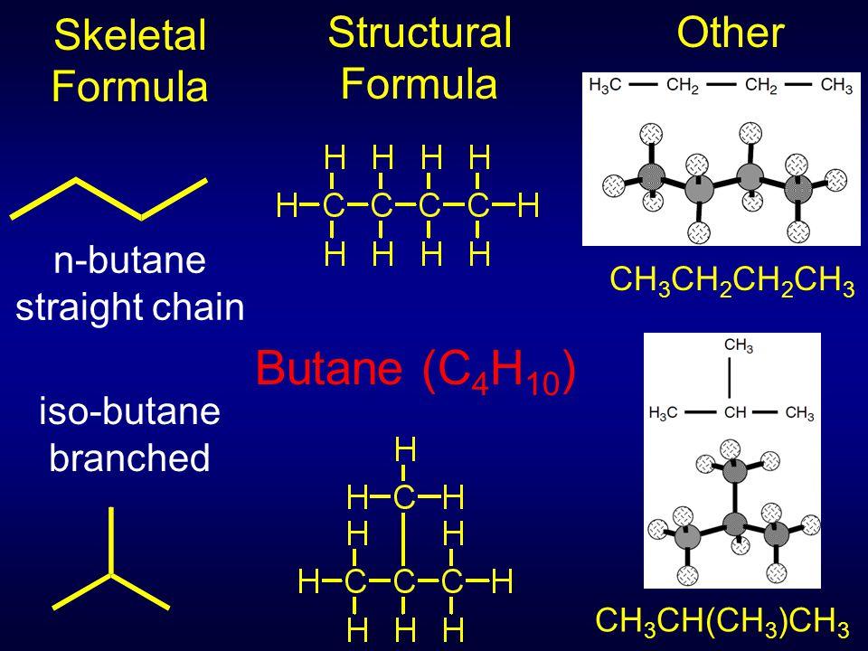 Butane (C 4 H 10 ) Other Skeletal Formula Structural Formula CH 3 CH 2 CH 2 CH 3 CH 3 CH(CH 3 )CH 3 n-butane straight chain iso-butane branched