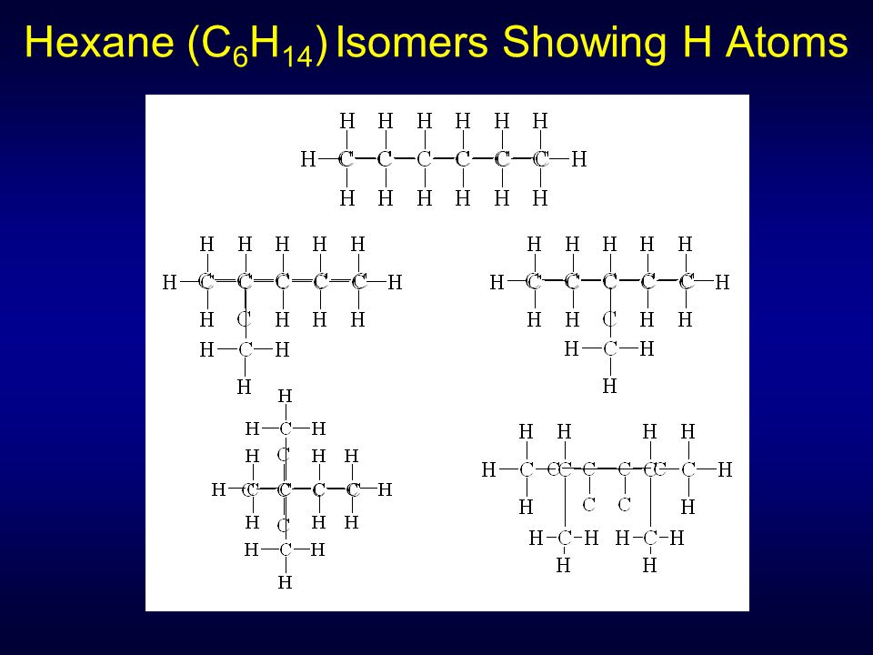 Hexane (C 6 H 14 ) Isomers Showing H Atoms