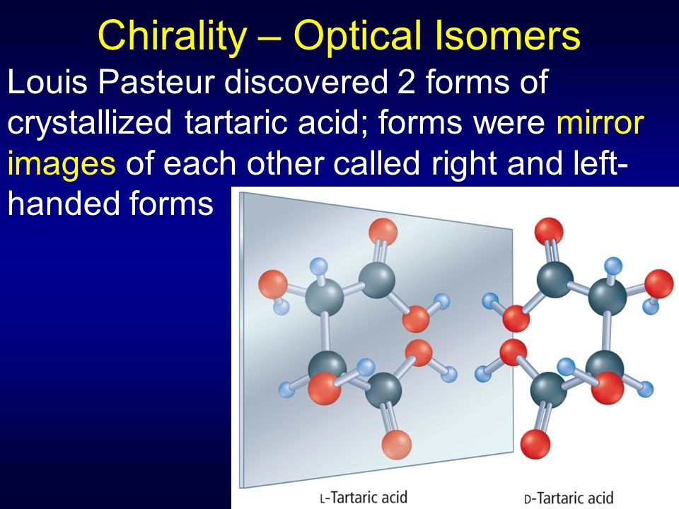 Chirality – Optical Isomers Louis Pasteur discovered 2 forms of crystallized tartaric acid; forms were mirror images of each other called right and left- handed forms