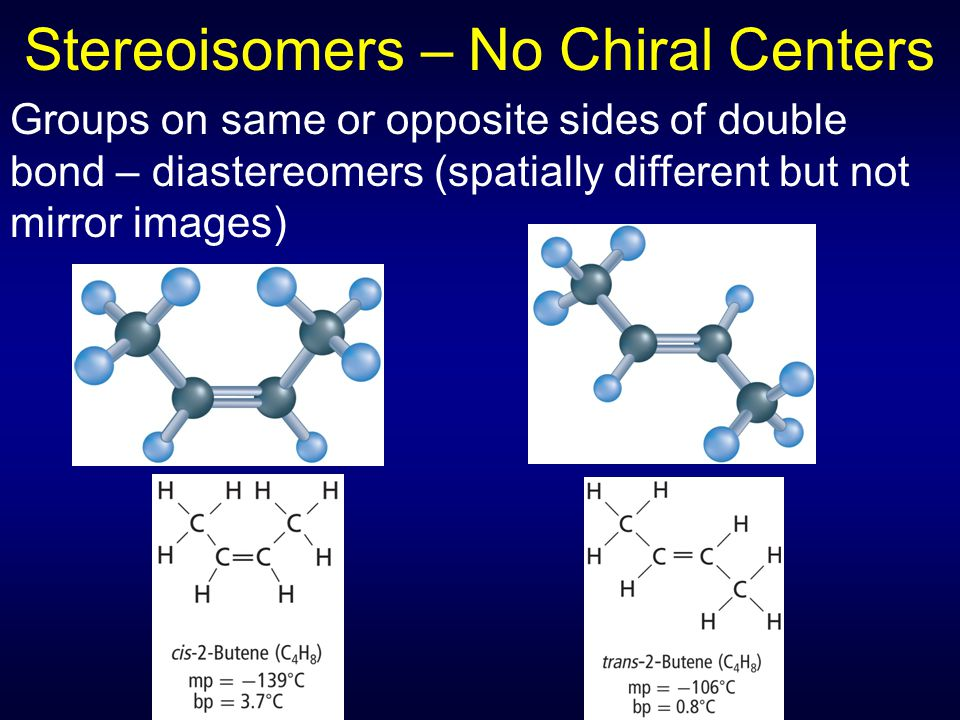 Stereoisomers – No Chiral Centers Groups on same or opposite sides of double bond – diastereomers (spatially different but not mirror images)