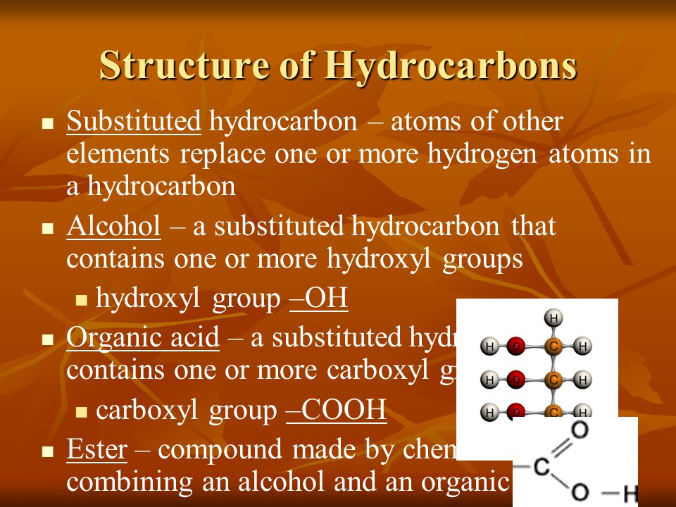 Structure of Hydrocarbons Substituted hydrocarbon – atoms of other elements replace one or more hydrogen atoms in a hydrocarbon Alcohol – a substitute