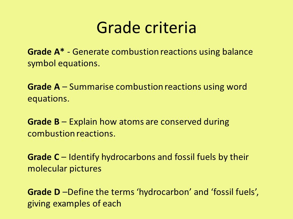 Grade criteria Grade A* - Generate combustion reactions using balance symbol equations.