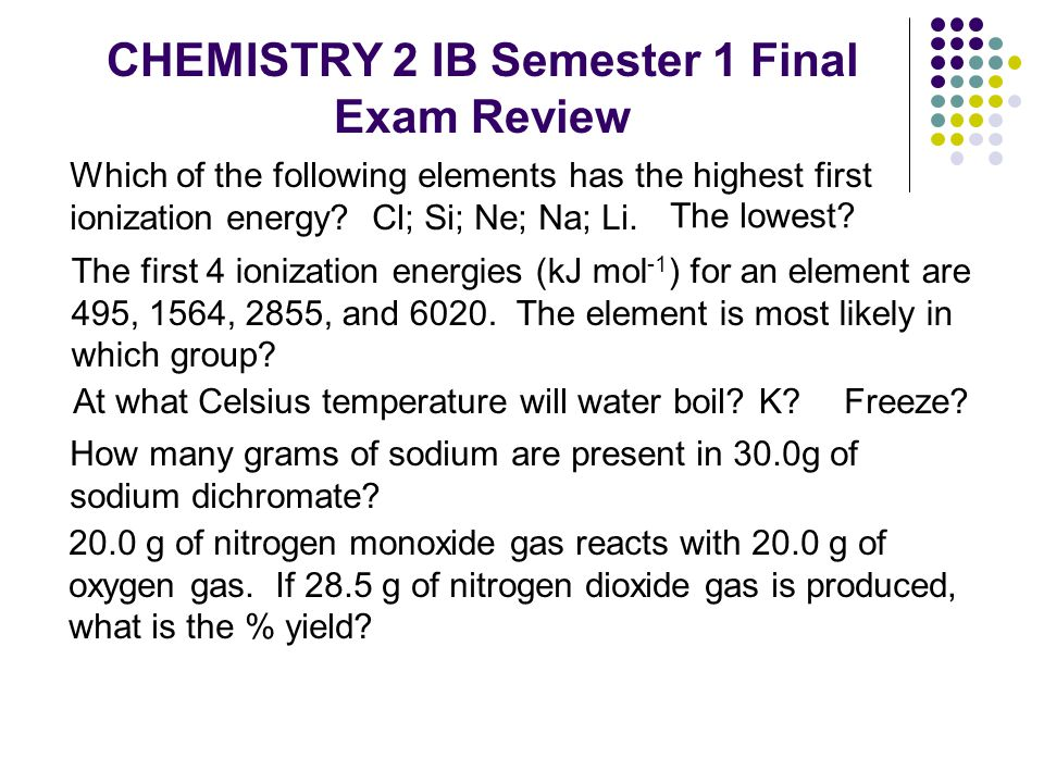 CHEMISTRY 2 IB Semester 1 Final Exam Review Which of the following elements has the highest first ionization energy? Cl; Si; Ne; Na; Li. The lowest? A