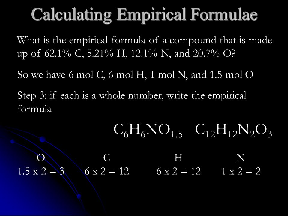 Calculating Empirical Formulae So we have 6 mol C, 6 mol H, 1 mol N, and 1.5 mol O Step 3: if each is a whole number, write the empirical formula C 12 H 12 N 2 O 3 What is the empirical formula of a compound that is made up of 62.1% C, 5.21% H, 12.1% N, and 20.7% O.
