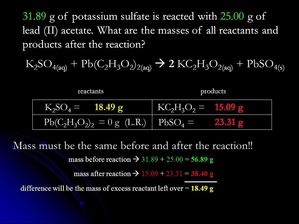 23.31 g 15.09 g 31.89 g of potassium sulfate is reacted with 25.00 g of lead (II) acetate. What are the masses of all reactants and products after the