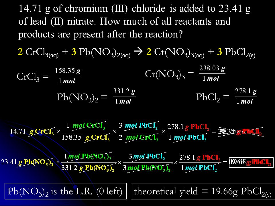 theoretical yield = 19.66g PbCl 2(s) Pb(NO 3 ) 2 is the L.R. (0 left) CrCl 3 =Pb(NO 3 ) 2 =PbCl 2 = 14.71 g of chromium (III) chloride is added to 23.