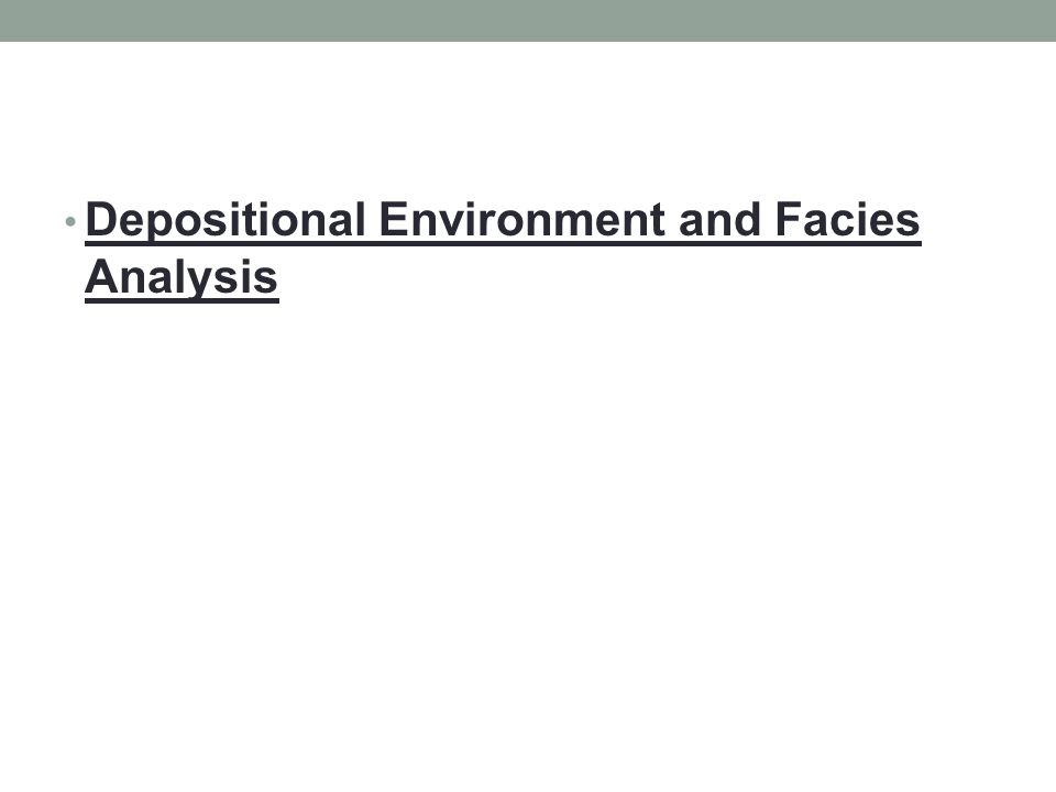 Depositional Environment and Facies Analysis