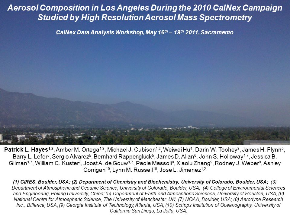 Chemical Composition of PM 1 Aerosols for Pasadena Build up of organic aerosol concentrations over a period of several days.