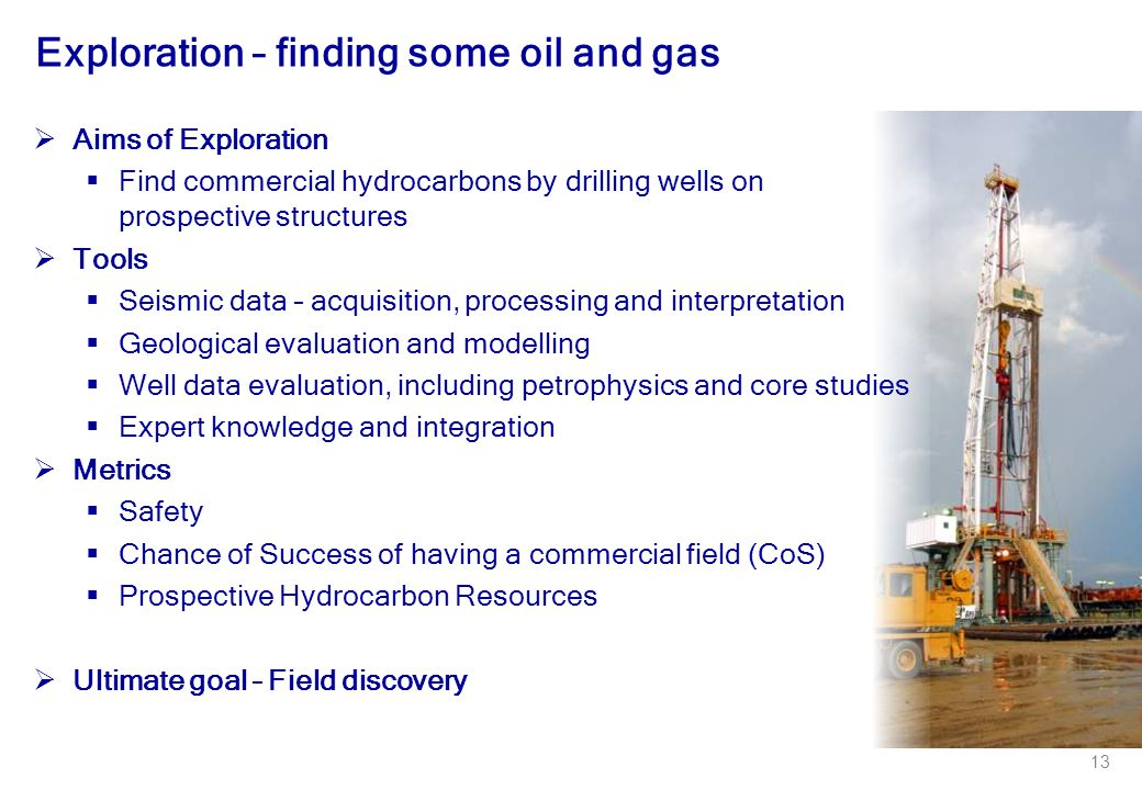 13 Exploration – finding some oil and gas  Aims of Exploration  Find commercial hydrocarbons by drilling wells on prospective structures  Tools  S