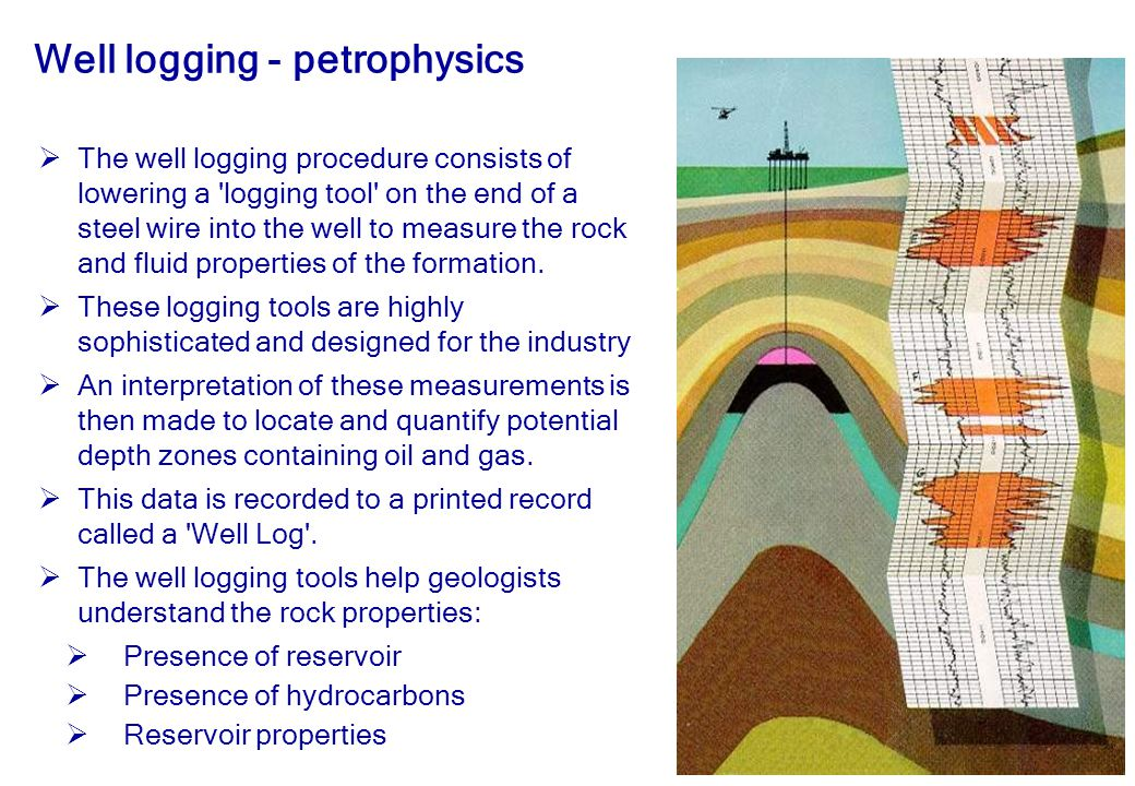 20 Well logging - petrophysics  The well logging procedure consists of lowering a logging tool on the end of a steel wire into the well to measure the rock and fluid properties of the formation.