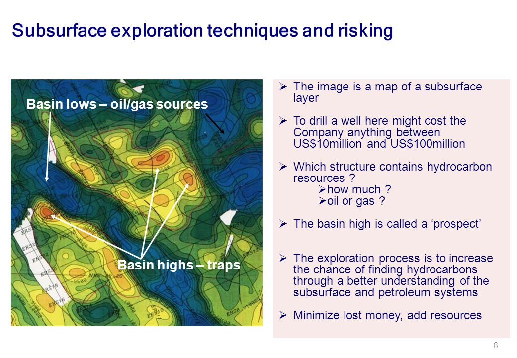 8 Subsurface exploration techniques and risking  The image is a map of a subsurface layer  To drill a well here might cost the Company anything between US$10million and US$100million  Which structure contains hydrocarbon resources .