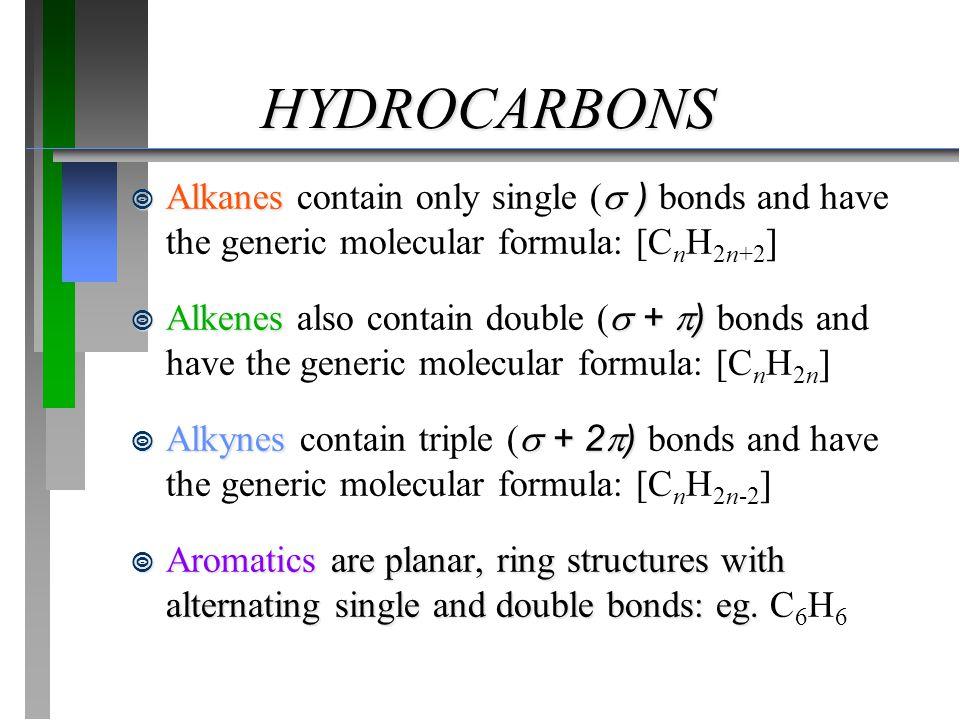 HYDROCARBONS  Alkanes  )  Alkanes contain only single (  ) bonds and have the generic molecular formula: [C n H 2n+2 ]  Alkenes  +  )  Alkenes