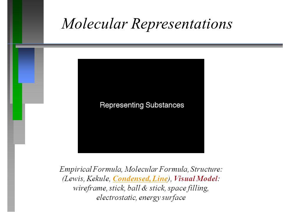 Molecular Representations Empirical Formula, Molecular Formula, Structure: (Lewis, Kekule, Condensed, Line), Visual Model: wireframe, stick, ball & st